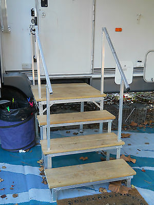 Portable RV Deck with steps and railings