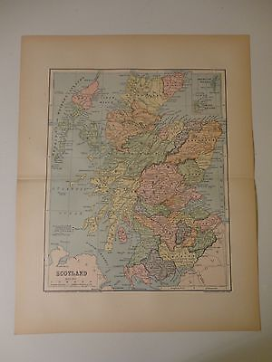 Engraved Antique map of Scotland, 1883 by Charles M. Green