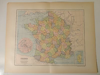 Engraved Antique map of France, 1883 by Charles M. Green