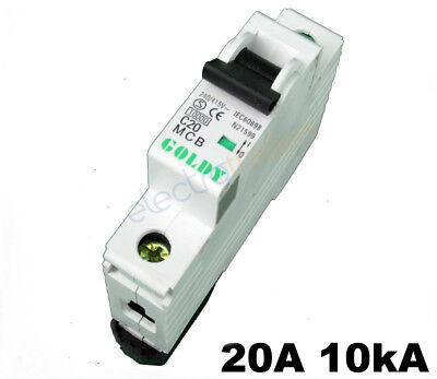 Circuit Breaker 20 Amp Single Pole 10kA Rating Goldy