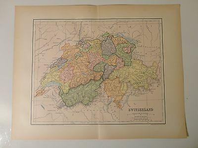Engraved Antique map of Switzerland, 1883 by Charles M. Green