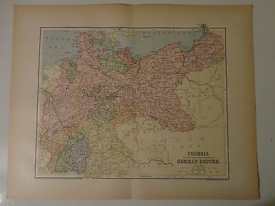 Engraved Antique map of Prussia & German Empire, 1883 by Charles M. Green