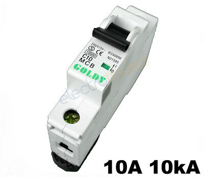 Circuit Breaker 10 Amp Single Pole 10kA Rating Goldy