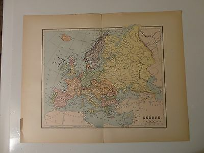 Engraved Antique map of Europe, 1883 by Charles M. Green