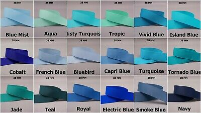 5yds~~38mm Solid Grosgrain Ribbon 12 Colours U Pick BLUE/NAVY/TURQUOISE