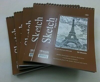 "Lot of 3 Sketch Book Paper Pad 50 Sheet 6/"" x 8/"" High Quality Spiral Premium Qty"
