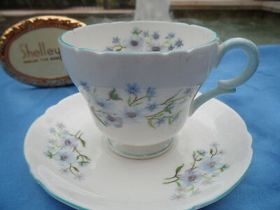 SHELLEY   BLUE ROCK  13591  HENLEY  FOOTED  CUP/SAUCER * DEMI *
