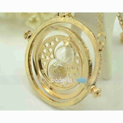 Harry Potter Time Turner Necklace Hermoine Granger Rotating Spins Hourglas GD Kj