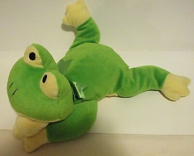 "1996 Ty Pillow Pals 14"" Ribbit the Green & Yellow Frog Plush ~CUTE~"