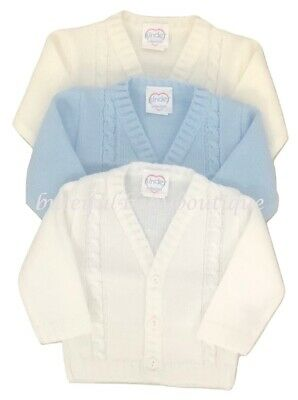 Baby Boy's Blue White Ivory Knitted Cable Cardigan 0-24 Months Boys Clothing