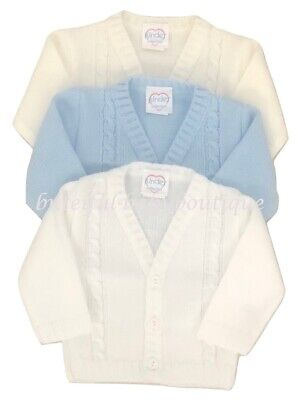 Baby Boy's Spanish Style Blue White Ivory Knitted Cable Cardigan 0-24 Months