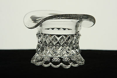 RIVERSIDE GLASS CRYSTAL PETTICOAT HAT SHAPED TOOTHPICK HOLDER NOVELTY EAPG