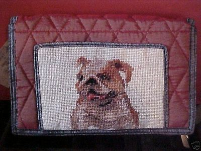 BULLDOG  ~ NEEDLEPOINT QUILTED WALLET