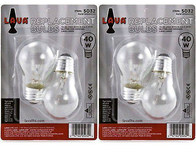 """4 Pack Lava Brand 40 Watt Replacement Bulbs for 16.3"""" and 17""""/52oz & 32oz lamps"""