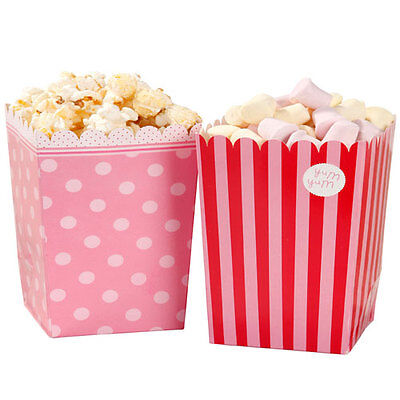 8 Pink N Mix Girly Retro Popcorn Holder Birthday Party Candy Sweet Treat Holders