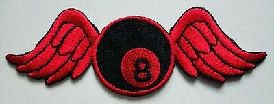 #4 8 EIGHT BALL BILLIARDS POOL WING FLY Embroidered Iron on Patch Free Shipping
