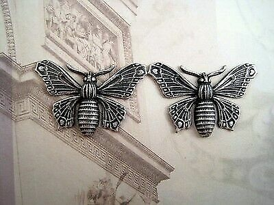 Oxidized Silver Plated Brass Butterfly Stampings (2) - SOFFA8993