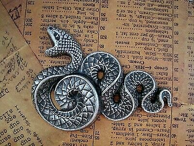 X-Large Oxidized Silver Plated Brass Serpent Stamping (1) - SOFFA1258