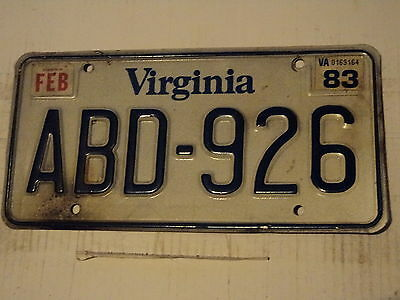 1983 VIRGINIA License Plate Tag ABD 926 February VA x