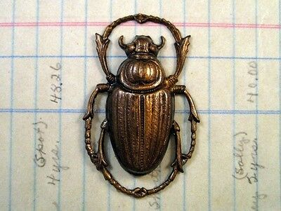Large Antique Brass Beetle Stamping (1) - ANTFFA8980 Jewelry Finding