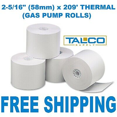 "GAS PUMP (2-5/16"" x 209') THERMAL RECEIPT PAPER - 12 NEW ROLLS **FREE SHIPPING**"