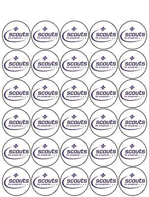 30 Pre-Cut Scouts Muffin Fairy Cup Cake Edible Rice Wafer Paper Toppers