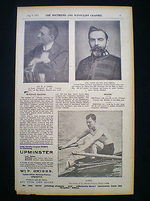Ernest Barry World Sculling Championship Champion Rower Old Page 1912