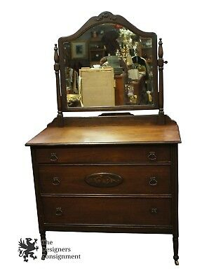 Early 20th C. Kelly Furniture Co Walnut Chest With Mirror Floral Painted Dresser