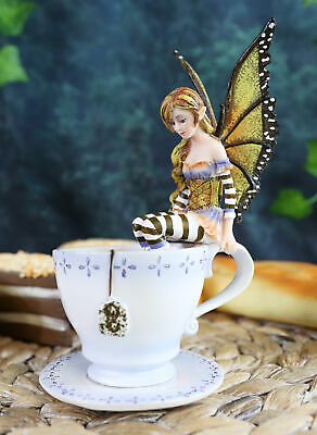 """Amy Brown Fantasy Cute Warm Toes Fairy in Coffee Cup Figurine Statue 6.25"""" Tall"""