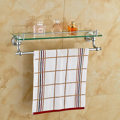 GOLD BRASS BATHROOM Glass Shelf Towel Rack Holder Cosmetic Holder ...