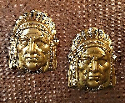 Large Raw Brass Indian Head Stamping(2)-FFA14012 Jewelry Finding