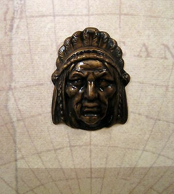Large Antiqued Brass Indian Head Stamping (1) - ANTFFA14012 Jewelry Finding