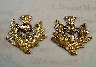 Raw Brass Thistle Stampings (2) - FFA14081  Jewelry Finding