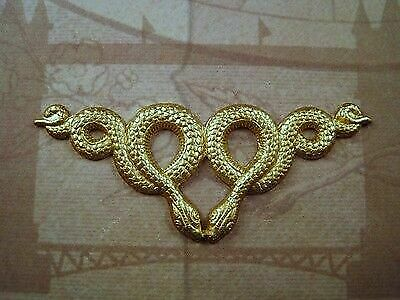 Large Raw Brass Double Snake Stamping (2) - FFA14130 Jewelry Finding
