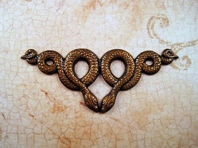 Large Antiqued Brass Double Snake Stamping (1) - ANTFFA14130 Jewelry Finding