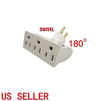 3OUTLET GROUNDED SWIVEL TAP TRIPLE WAY ADAPTER