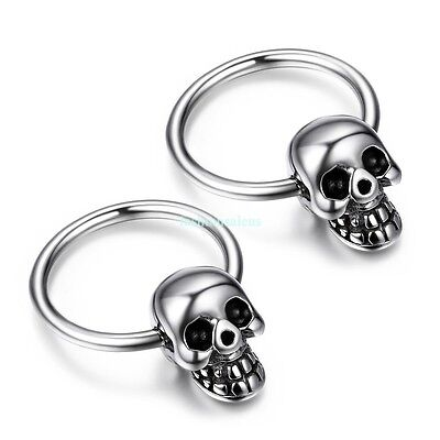 Fashion Punk Stainless Steel Skull Boy's Men's Huggie Earrings Halloween Gift