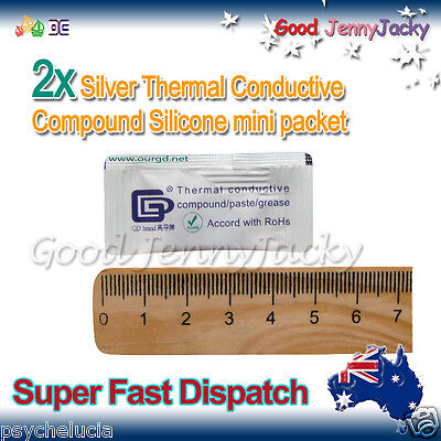 2x Silver Thermal Conductive Compound Silicone Grease Paste mini pack -> CPU GPU