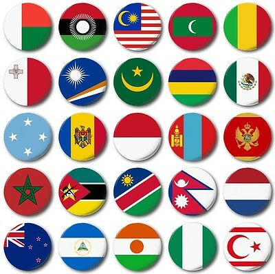 MINI FRIDGE MAGNET - WORLD FLAGS Various  25mm / 1 inch, M to N