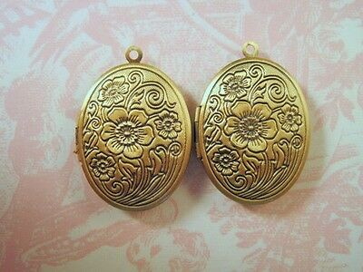 Antique Bronze Oval Floral Etched Lockets (2) - P096 Jewelry Finding