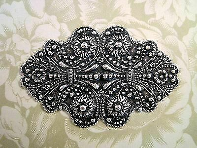 Large Oxidized Silver Plated Ornate Victorian Stamping (1) - SOFF0404