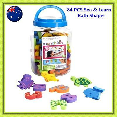 Munchkin Sea & Learn Bath Foam Shapes 84PCS Number Alphabet learning Toy Kids
