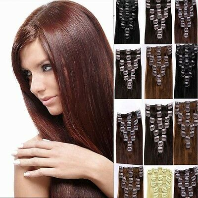 "full head Remy human hair 15"" 20"" 24"" 26"" Clip In Real Human Hair Extensions OEM"