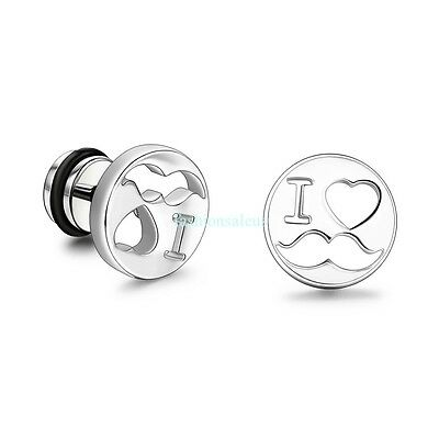 Fashion Stainless Steel Hollow I LOVE U Red Womens Mens Stud Earrings Screw Back