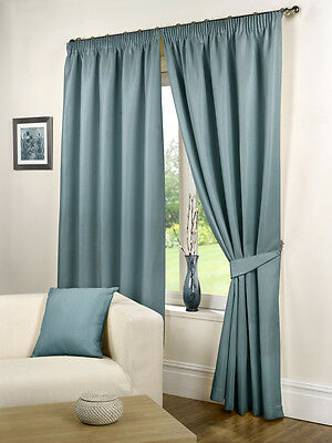 Waffle Pencil Pleat Ready Made Lined Curtains Sea Blue