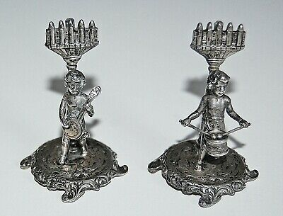 Antique Sterling PLACE CARD HOLDERS (pair) - MUSCIiANS (drummer / banjo)  4V12)