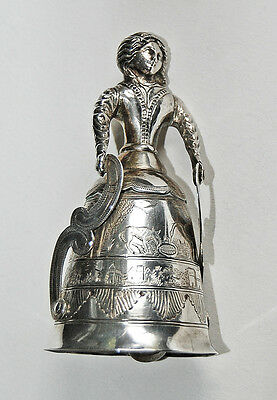 Antique DUTCH SILVER FIGURAL BELL -  Woman, Animals, Village / Hallmarked  (4V2)