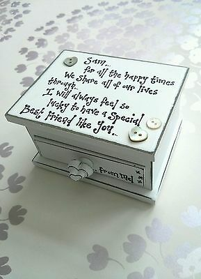 Shabby Chic personalised Special Best Friend gift Sister Trinket jewellery box