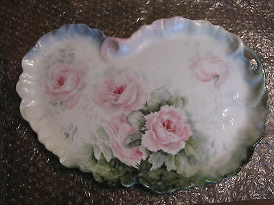 """Antique Limoges Guerin Porcelain Vanity Tray Kidney Shaped Roses Hand Paint 13"""""""