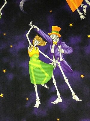 G70 Dancing Skeleton Halloween Witches Spooky Cotton Fabric Quilt Fabric
